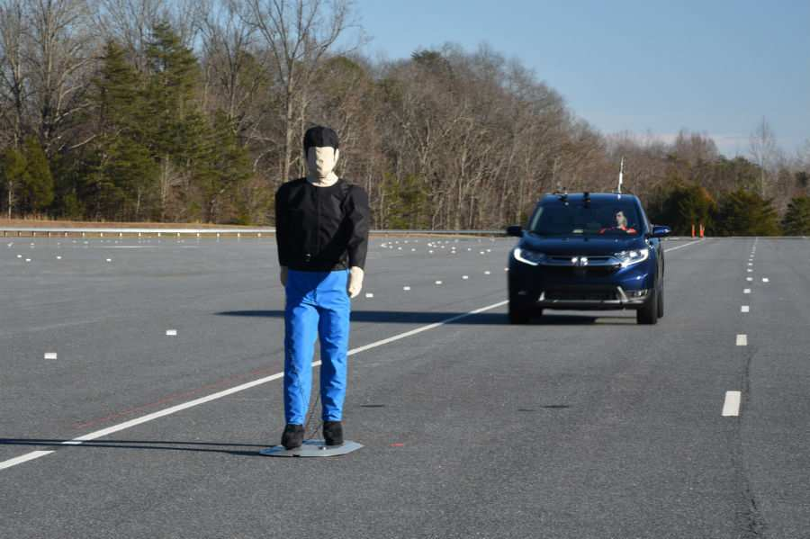2019 Honda CR-V Exterior Driver Side Front Angle during IIHS Pedestrian Detection Test